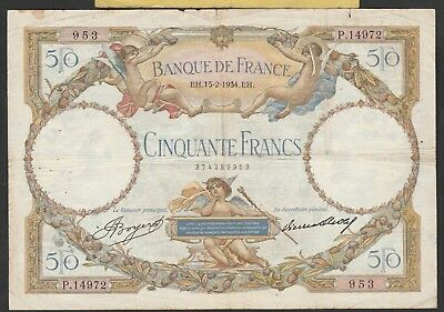 50 Francs From France 1934