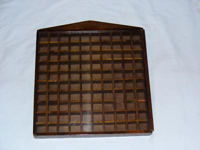 THIMBLE DISPLAY CASE-As-Is   Wood with Sliding Plexiglass Cover