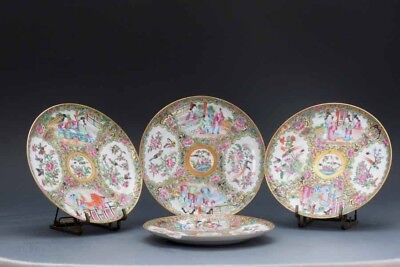 19th.c Chinese Rose Medallion Set of 4 Plates, Birds, Flowers, Figural Scenes