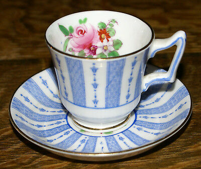 Staffordshire Bone China F15539 Blue & White Rose Petit Demitasse Cup & Saucer