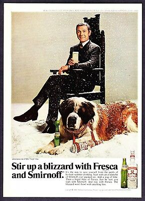 1969 Johnny Carson St. Bernard in Snow photo Smirnoff Fresca vintage print ad