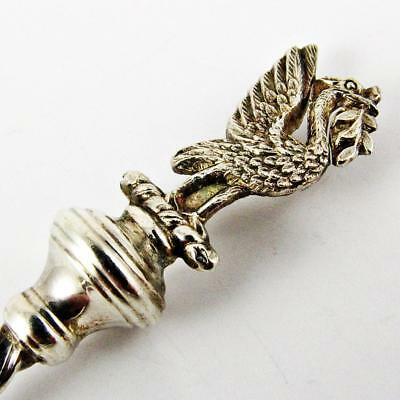 Antique Hayes Brothers British Griffin Figural Top Sterling Silver Spoon
