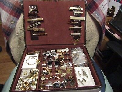 Large mixed lot of vintage men's jewelry w/alligator leather style box.
