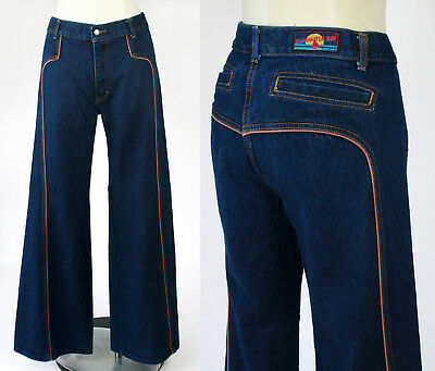 "Womens Vintage 70s Bell Bottom High Rise Jeans Denim Pants 32"" x Inseam 31.5 EXC"