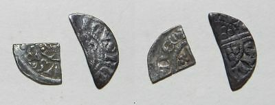 MEDIEVAL ENGLAND :  CUT SILVER HALF PENNY & FARTHING  - HENRY II to HENRY III