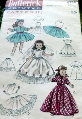 "GREAT VTG 1950s 16"" DOLL CLOTHING SEWING PATTERN"