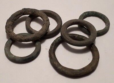 Lot of 6 Ancient Celtic Bronze Proto Coins Ring Money