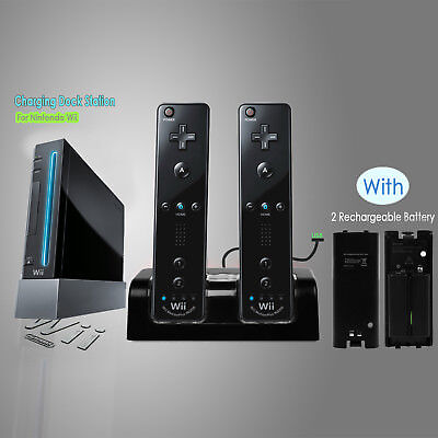 Us Charger Dock Station+ 2 X 2800 Mah Battery Nintendo Wii / Wii U Remote