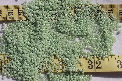 10/0 Vintage French Pale Greasy Green Glass Crafts Jewelry Making Beads /1oz