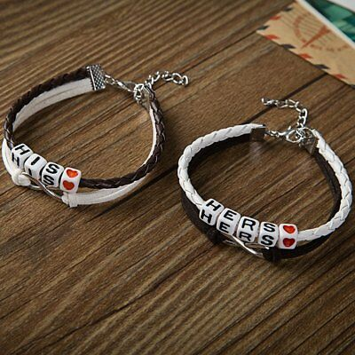2pcs His and Hers Lovers Matching Couple Handmade Braided Bracelets Lover Gifts