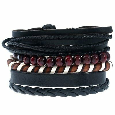Braided Leather Bracelet Men Women Tribal Beaded Cuff Wristband Gifts 4pcs Set