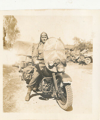 4/21/1945 WWII Army 821st MP MOTORCYCLE Lt Thomas Photo #2 Scheinfeld Germany