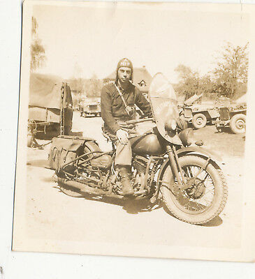 4/21/1945 WWII Army 821st MP MOTORCYCLE Lt Thomas Photo #3 Scheinfeld Germany