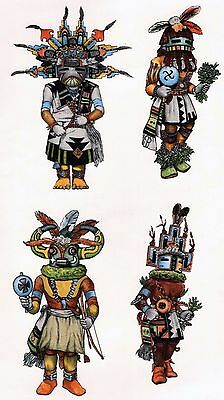 "12 Kachina Tribal Costume 2"" X 1"" Waterslide Ceramic Decals Xx"