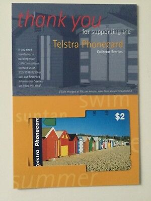 Telstra $2 thank you phonecard Brighton beach Melbourne mint condition card