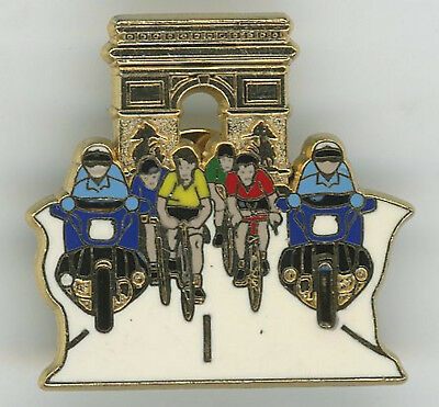 Pin's Tour  france Arc de triomphe  jaune + rouge