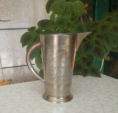 Vintage Copper Brass Pitcher Jug Engraved with Handle 20 cm, EPNS Silver-Plated