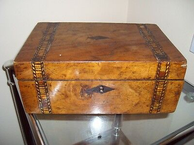 Old Wooden Box With Lid - Some Damage To Finish - Possibly Home Made - Nice Box!