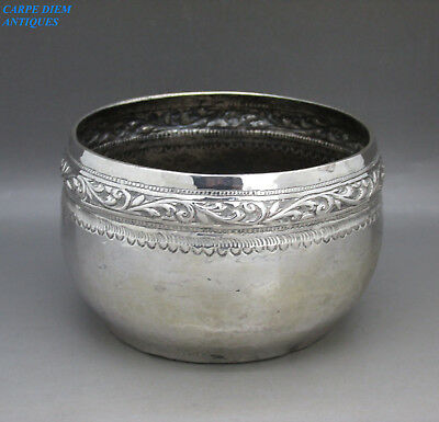 ANTIQUE MIDDLE EASTERN SOLID SILVER EMBOSSED RICE BOWL, 11CM DIAM, 122g, c1890