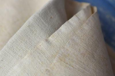 """FRENCH ANTIQUE HOMESPUN HAND LOOMED LINEN SHEET. UNUSED UNBLEACHED 108x79"""" #A51"""
