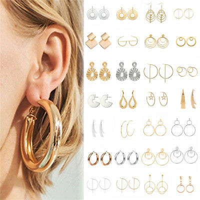 Women Bohemian Popular Geometric Round Circle Dangle Drop Hook Stud Earrings