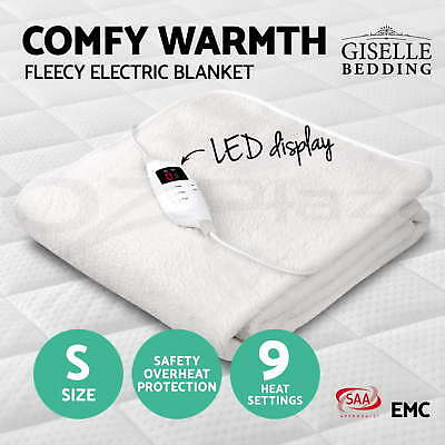 Giselle Bedding Fleecy Heated Electric Blanket Fully Fitted Washable Single Bed