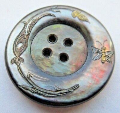 Incredible LARGE Antique Carved MOP Shell BUTTON Luster Butterfly & Flower (E12)