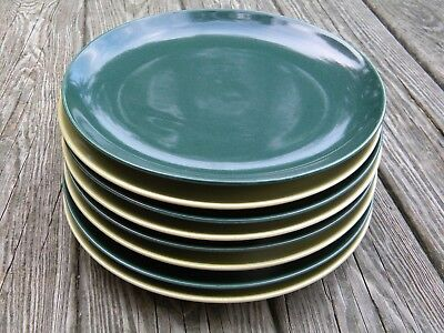 Mid Century Modern 8 Vintage Russell Wright Chartreuse Cedar Dinner Plates