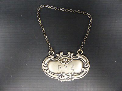 "Antique Sterling ""rye"" Tag For Decanter"