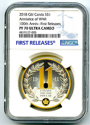 2018 $1 Canada Gilt Silver Dollar Armistice Wwi Ngc Pf70 Uc Proof First Releases
