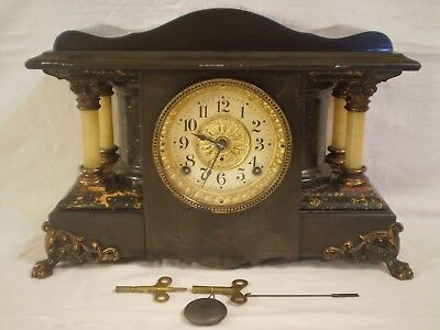 ANTIQUE SETH THOMAS MANTLE CLOCK ADAMANTINE w/ 4 1/2 MOVEMENT - NEEDS REPAIRS