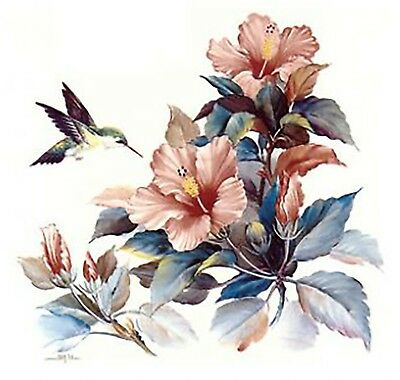 Hibiscus Flower Hummingbird Select-A-Size Ceramic Waterslide Decals Ox
