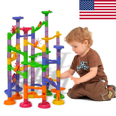 105 pcs Kids Marble Run Race Set Railway Building Blocks Construction Track Toy