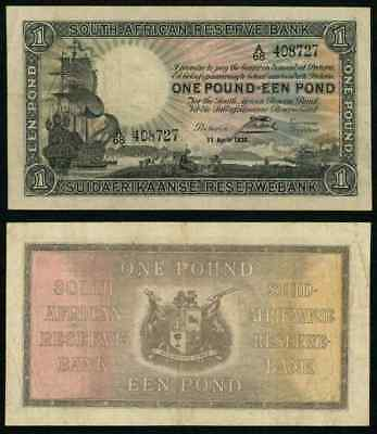 Currency 1938 South African Reserve Bank One Pound Banknote Sailing Ship P# 84c