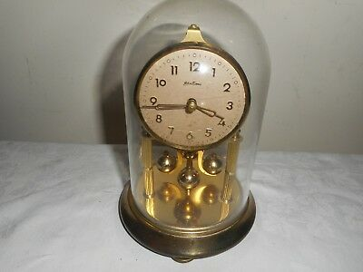 Vintage, Bentima Anniversary Clock in Glass Dome, Kern Miniature Movement.