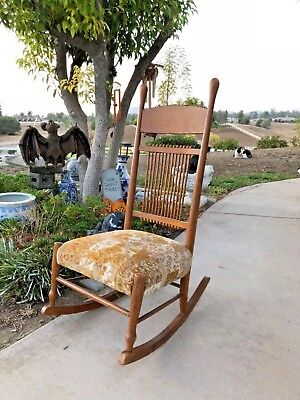 Antique/Vintage Windsor Style Spindle Back Rocking Chair With Tapestry Seat