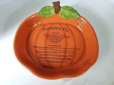 Pumpkin Shaped Pie Plate With Recipe