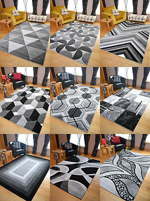 Black Grey Silver Rugs New Thick Hand Carved Small Extra Large Size House Cheap