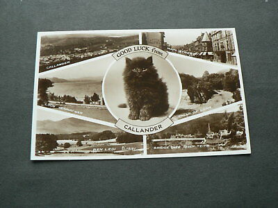 Old Photo Multi-view Postcard: Good Luck from Callander, Black Cat