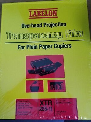 NEW LABELON XTR 650 Transparency Film for Plain Paper Copiers 100 Sheets 8.5 X11