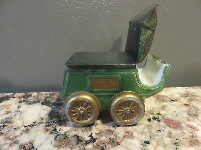 Vintage Antique Horse Carriage Buggy Handpainted Milk Glass Candy Container