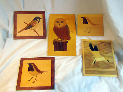 A Collection Of Vintage Wood Marquetry Inlaid Panels Depicting Birds