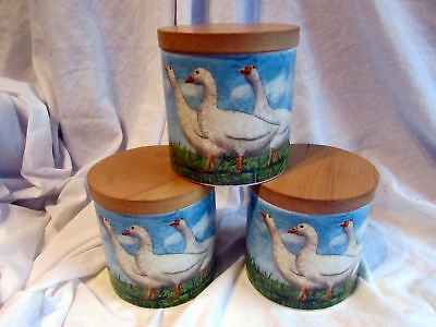 """3 Dunoon Stoneware """"on The Farm"""" Geese Decor Wood Lidded Jars"""