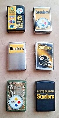 Collectable Steelers Zippo Lot - Lot of 6 Steelers Zippo Lighters - Pittsburgh