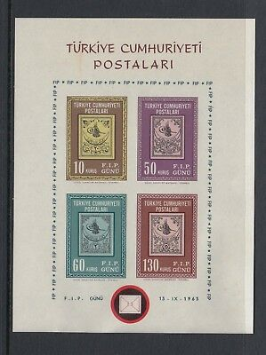 TURKEY 1963 STAMPS ON STAMPS miniature sheet imperforate, Mint Never Hinged