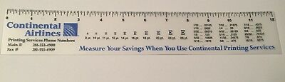 Continental Airlines Clear Plastic Ruler