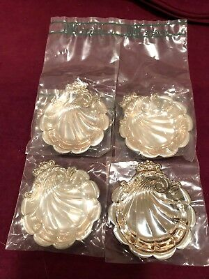 4  LUNT Sterling Silver Scallop Shell Open Salt or Sauce Dishes NEW