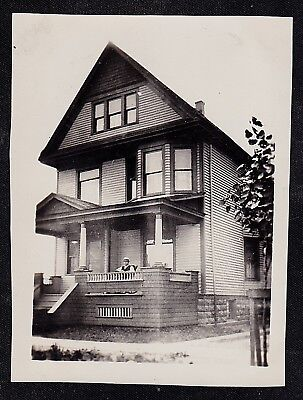 Antique Vintage Photograph Man Sitting on Porch of Wonderful Old Country Home