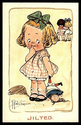 COMICS JILTED LITTLE GIRLD CRYING COLORED 1910s POSTCARD