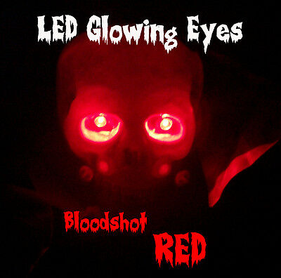 LARGE 10mm LED GLOWING EYES HALLOWEEN RED 9 VOLT 12 inch wires